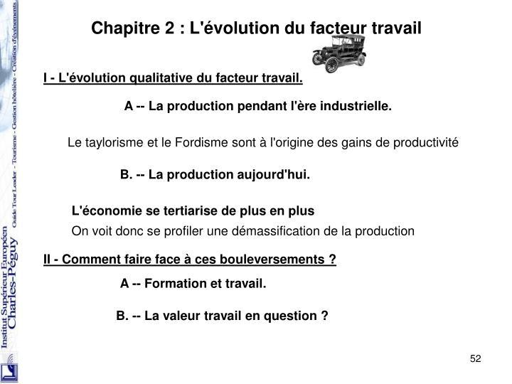 Chapitre 2 : L'évolution du facteur travail