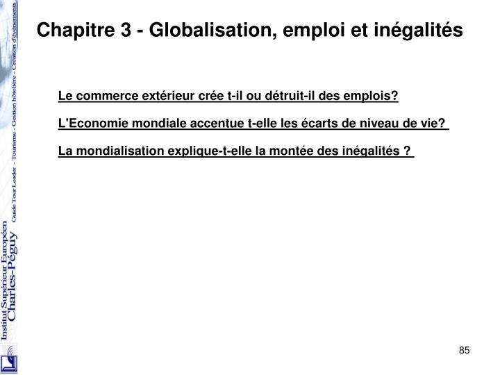 Chapitre 3 - Globalisation, emploi et inégalités