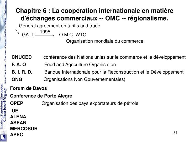 Chapitre 6 : La coopération internationale en matière d'échanges commerciaux -- OMC -- régionalisme.