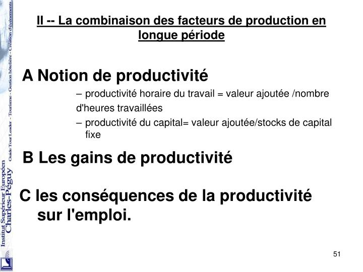 A Notion de productivité