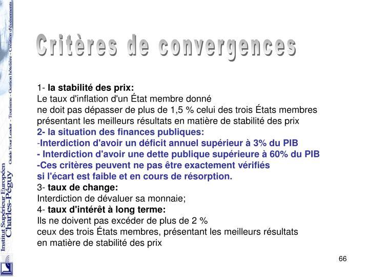Critères de convergences