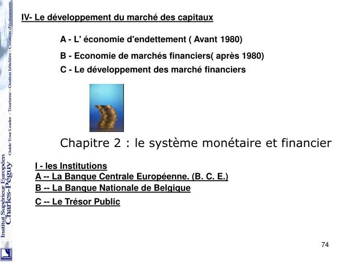 IV- Le développement du marché des capitaux
