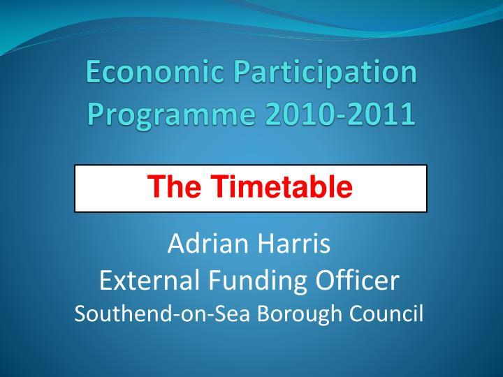 Economic Participation Programme 2010-2011