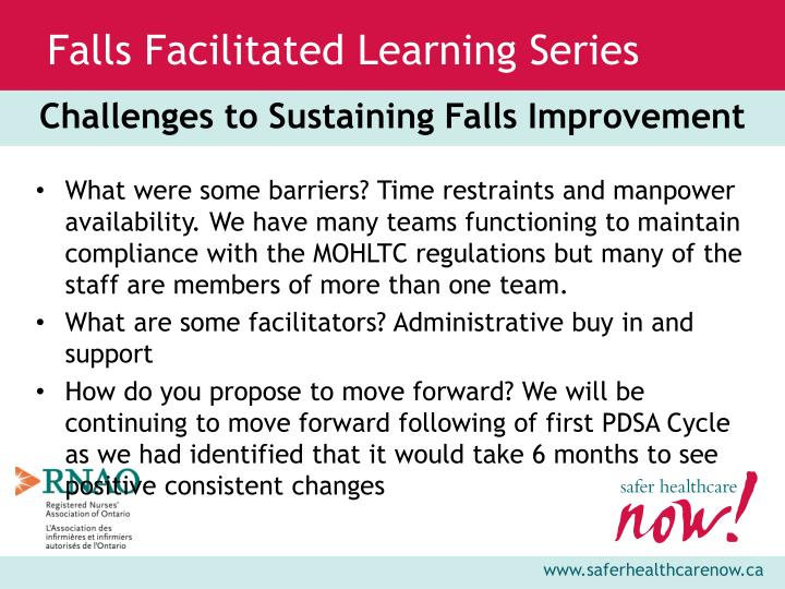 Challenges to Sustaining Falls Improvement