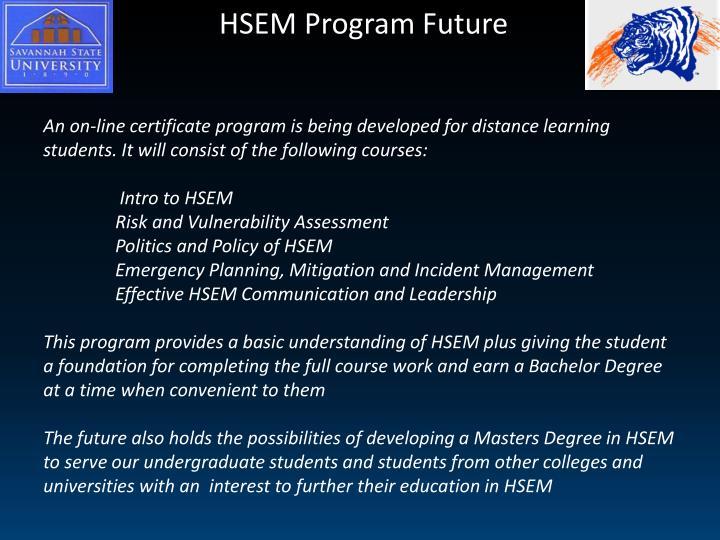HSEM Program Future