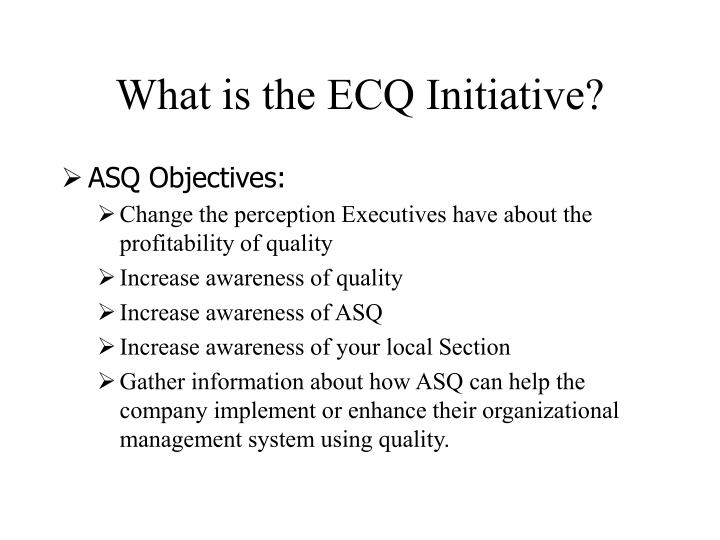 What is the ECQ Initiative?
