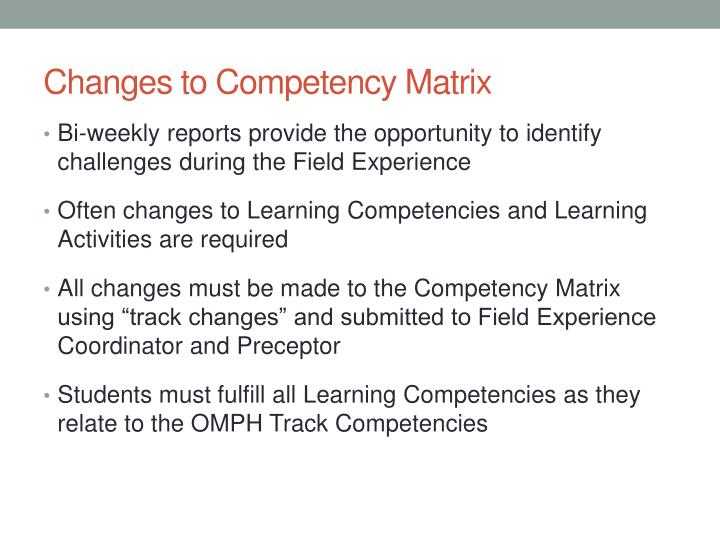 Changes to Competency Matrix