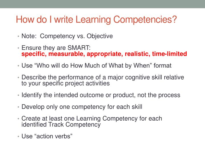 How do I write Learning Competencies?
