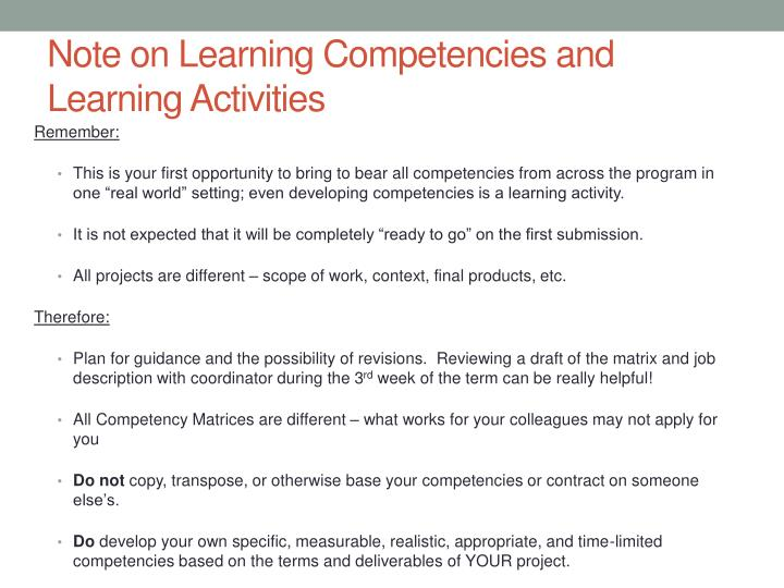 Note on Learning Competencies and Learning Activities