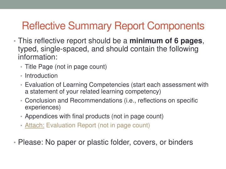 Reflective Summary Report Components