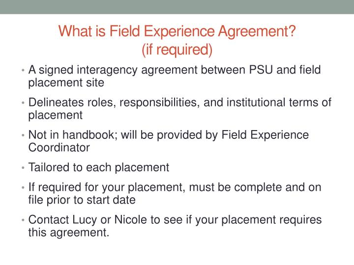 What is Field Experience Agreement?