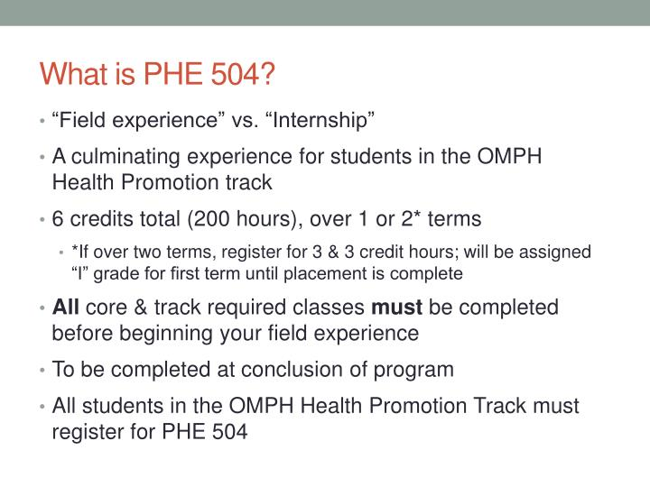 What is PHE 504?