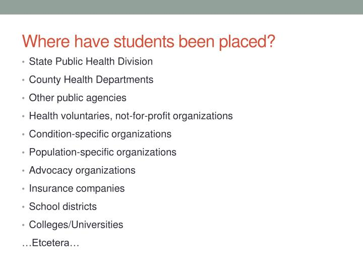 Where have students been placed?
