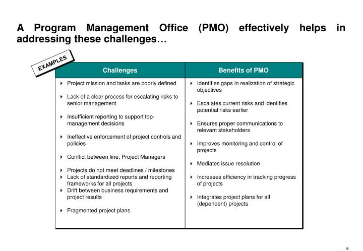 A Program Management Office (PMO) effectively helps in addressing these challenges…