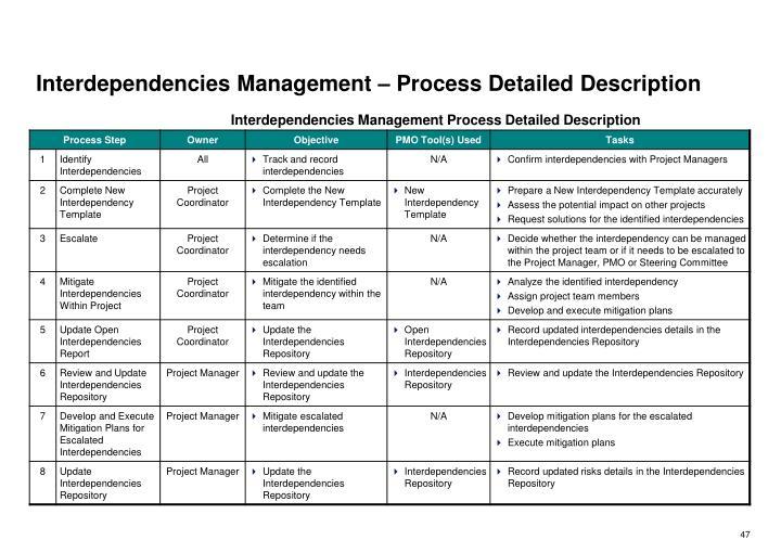Interdependencies Management – Process Detailed Description