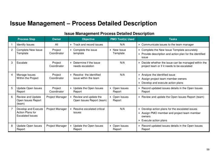 Issue Management – Process Detailed Description