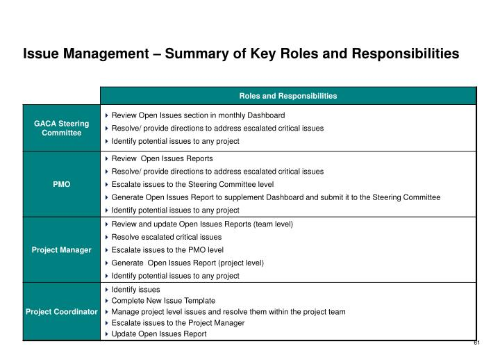 Issue Management – Summary of Key Roles and Responsibilities