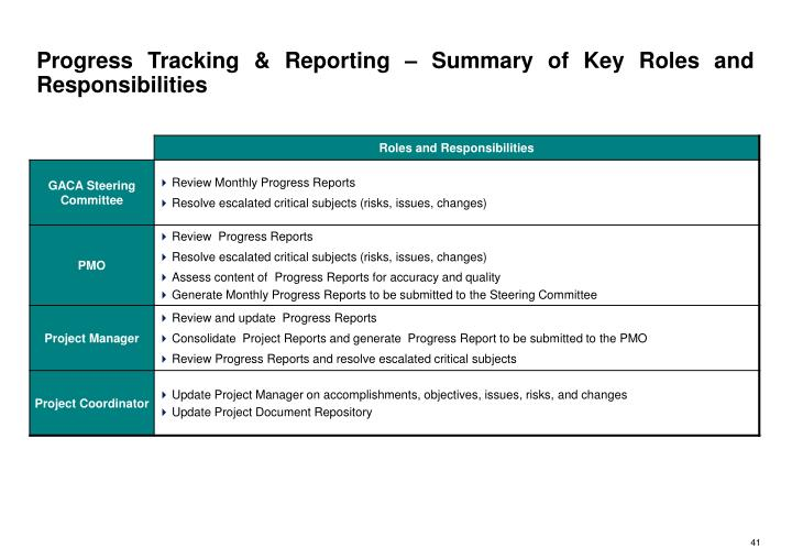 Progress Tracking & Reporting – Summary of Key Roles and Responsibilities