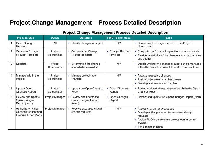Project Change Management – Process Detailed Description