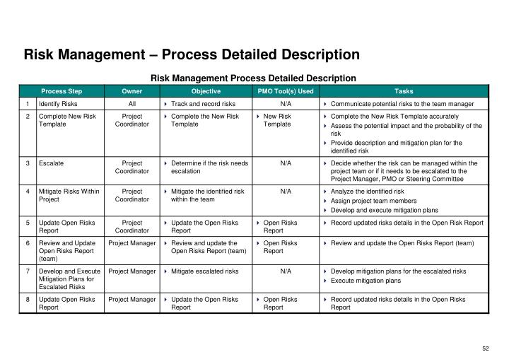 Risk Management – Process Detailed Description