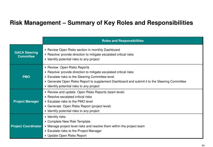 Risk Management – Summary of Key Roles and Responsibilities