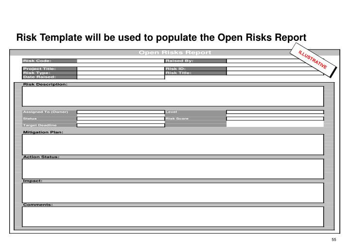 Risk Template will be used to populate the Open Risks Report
