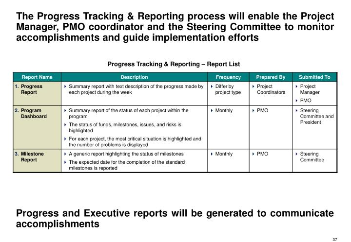 The Progress Tracking & Reporting process will enable the Project Manager, PMO coordinator and the Steering Committee to monitor accomplishments and guide implementation efforts