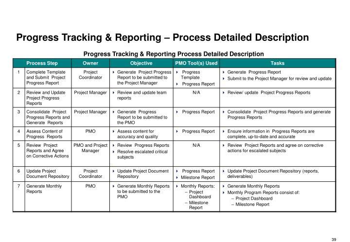 Progress Tracking & Reporting – Process Detailed Description