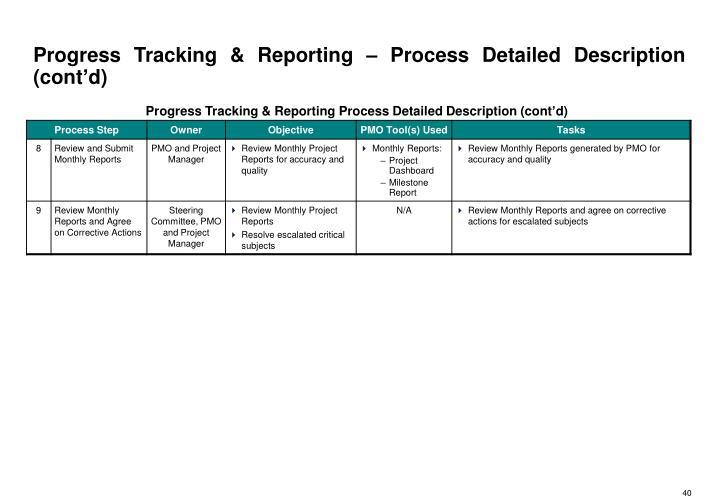 Progress Tracking & Reporting – Process Detailed Description (cont'd)