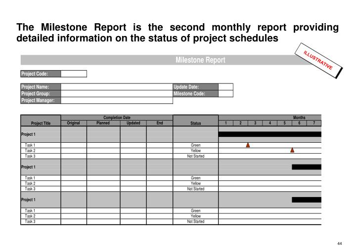 The Milestone Report is the second monthly report providing detailed information on the status of project schedules