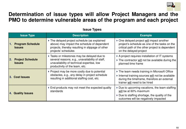 Determination of issue types will allow Project Managers and the PMO to determine vulnerable areas of the program and each project