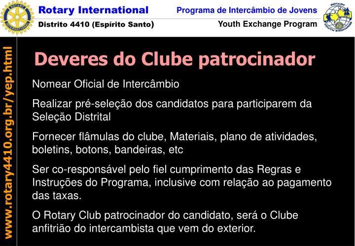 Deveres do Clube patrocinador
