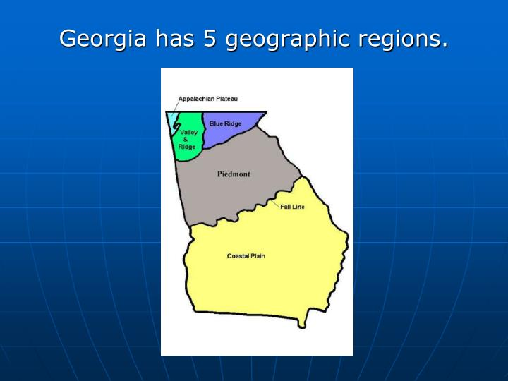 Georgia has 5 geographic regions.