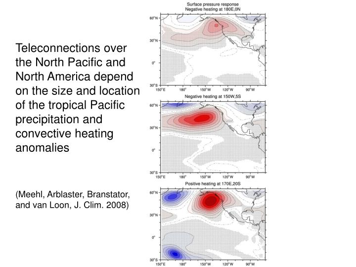 Teleconnections over the North Pacific and North America depend on the size and location of the tropical Pacific precipitation and convective heating anomalies