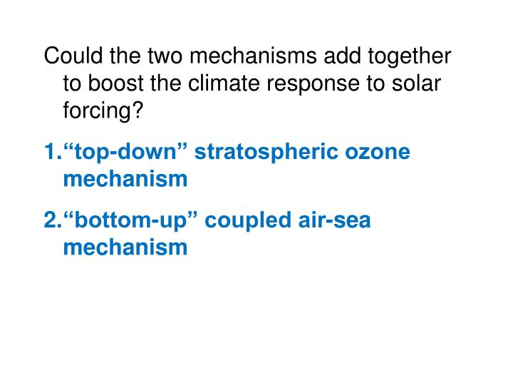 Could the two mechanisms add together to boost the climate response to solar forcing?