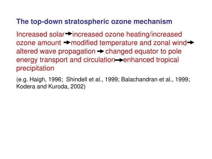 The top-down stratospheric ozone mechanism