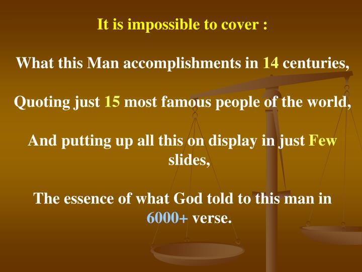 It is impossible to cover :