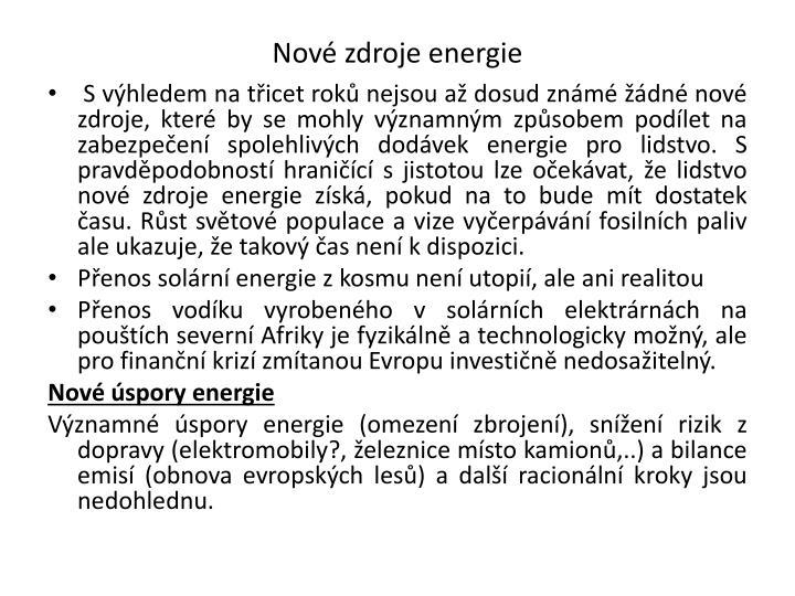 Nové zdroje energie