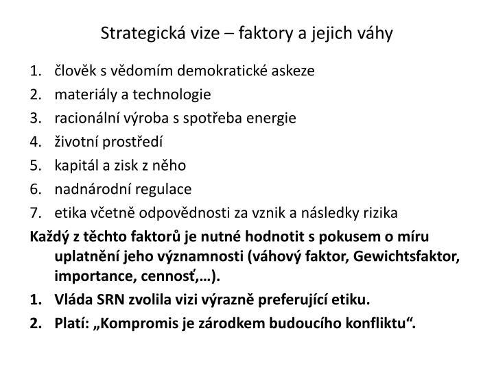 Strategická vize – faktory a jejich váhy