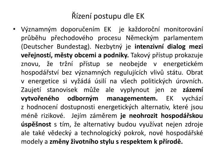 Řízení postupu dle EK