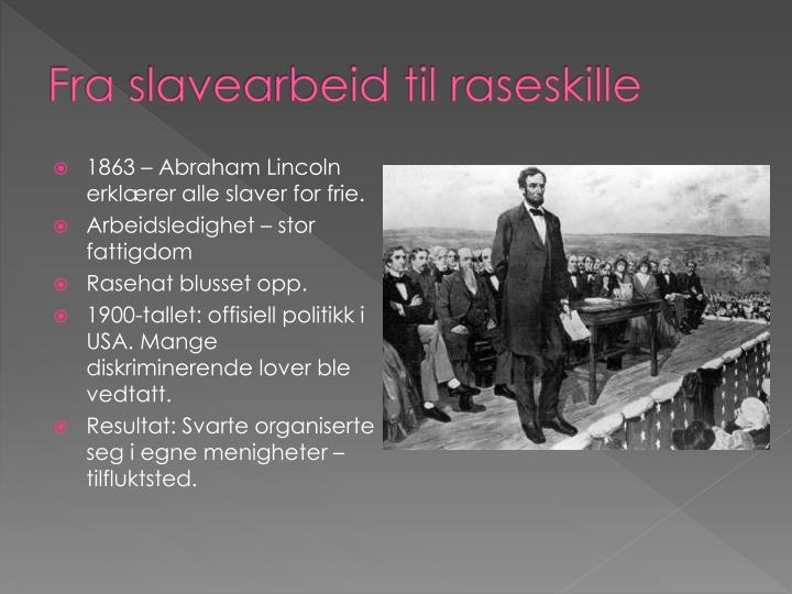 Fra slavearbeid til raseskille