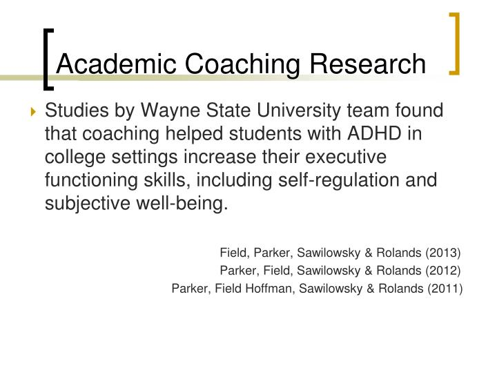Academic Coaching Research