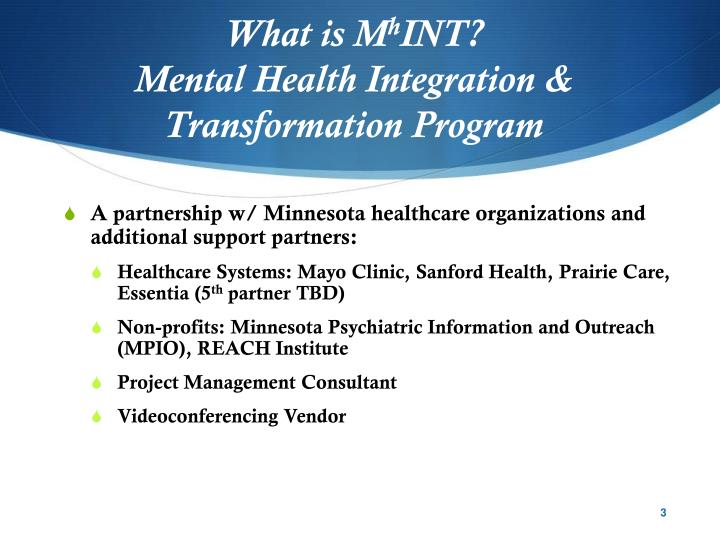 What is m h int mental health integration transformation program