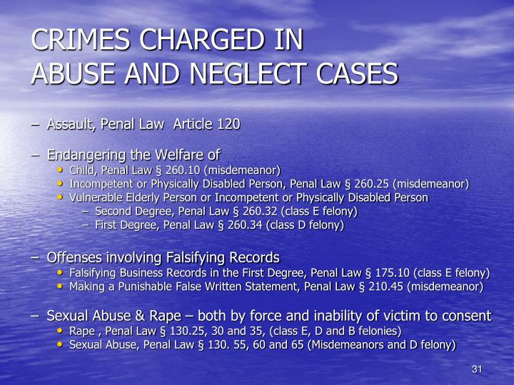 CRIMES CHARGED IN