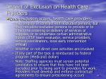 impact of exclusion on health care providers