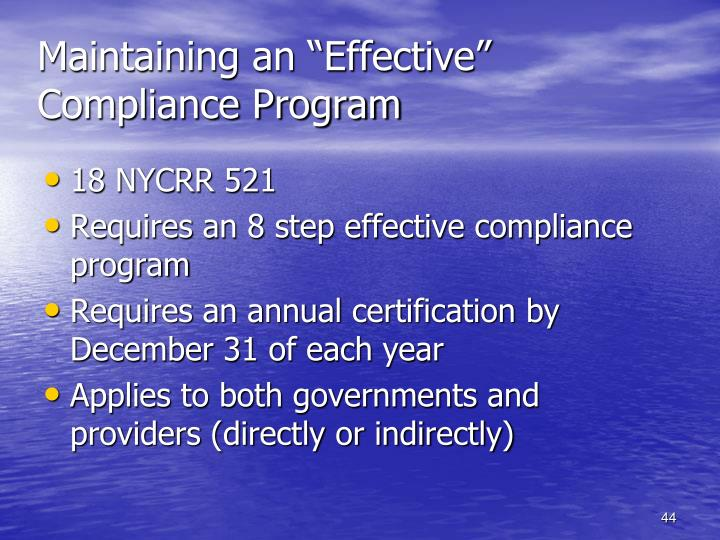 "Maintaining an ""Effective"" Compliance Program"