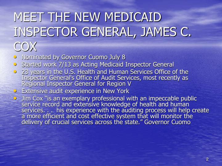 Meet the new medicaid inspector general james c cox
