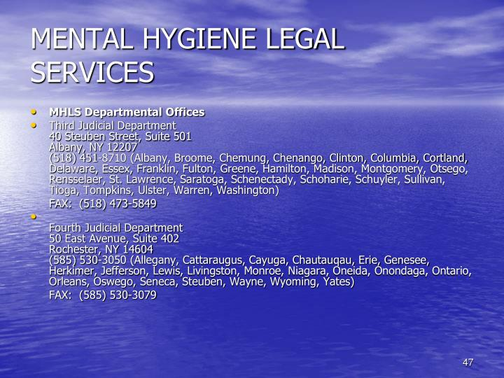 MENTAL HYGIENE LEGAL SERVICES