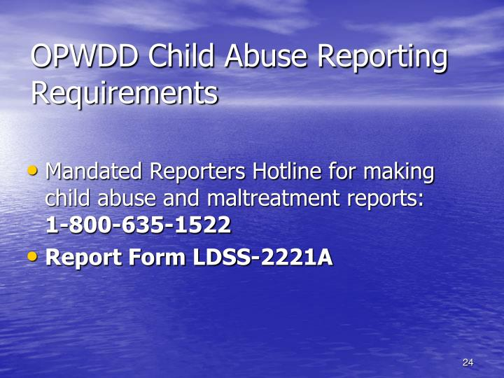 OPWDD Child Abuse Reporting Requirements