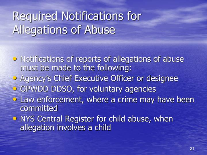 Required Notifications for Allegations of Abuse